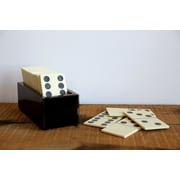 Creative Co-Op Turn of the Century 29 Piece MDF Box Bone and Resin Dominoes Set