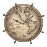 Cole & Grey 15'' Brass Ship Wheel Wall Clock