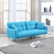 Madison Home USA Modern Plush Tufted Convertible Sofa; Blue