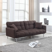 Madison Home USA Modern Plush Tufted Convertible Sofa; Brown