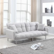 Madison Home USA Modern Plush Tufted Convertible Sofa; Light Grey