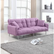 Madison Home USA Modern Plush Tufted Convertible Sofa; Light Purple