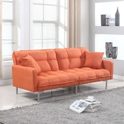 Madison Home USA Modern Plush Tufted Convertible Sofa; Orange