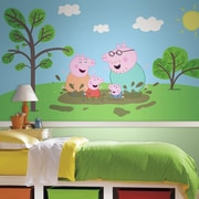 Room Mates Moose Enterprise Peppa the Pig XL Chair Rail Prepasted Ultra-Strippable Wall Mural