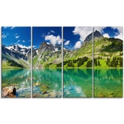 DesignArt Metal 'Bright Day Mountain Lake' Photographic Print