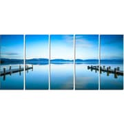 DesignArt Metal 'Two Wooden Piers in Blue Sea' Photographic Print