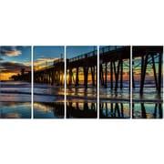 DesignArt Metal 'Oceanside Pier at Evening' Photographic Print
