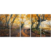 DesignArt Metal 'Dark Yellow Old Forest in Fog' Photographic Print