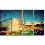 DesignArt Metal 'Eiffel Tower from Fountain' Graphic Art