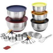 VonShef 25 Piece Stainless Steel Mixing Bowl Set