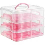 VonShef 3 Tier Cupcake Holder and Carrier Container; Pink