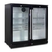 Kingsbottle KBU 56-BP 383 Can Commercial Grade Black Beverage Fridge, 2 self closing doors
