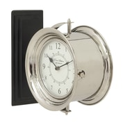 Cole & Grey 12'' Stainless and Steel Wood Double Wall Clock
