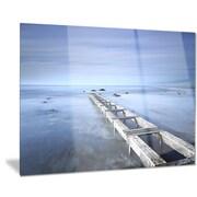 DesignArt Metal 'Dark Blue Sky and Large Pier' Photographic Print; 28'' H x 36'' W