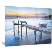 DesignArt Metal 'Old Wooden Pier in Bright Sea' Photographic Print; 28'' H x 36'' W