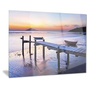 DesignArt Metal 'Old Wooden Pier at Sunset' Photographic Print; 28'' H x 36'' W