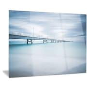 DesignArt Metal 'Industrial Pier Side View' Photographic Print; 12'' H x 28'' W