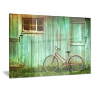 DesignArt Metal 'Old Bicycle Against Barn' Photographic Print; 28'' H x 36'' W