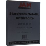 JAM Paper® Metallic Paper, 8.5 x 11, 80lb Stardream Anthracite Black, 100/pack (I73SD8511AN120)