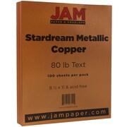 JAM Paper® Metallic Paper, 8.5 x 11, 80lb Stardream Copper, 100/pack (173SD8511CO120)