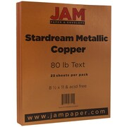 JAM Paper® Metallic Paper, 8.5 x 11, 80lb Stardream Copper, 25/pack (173SD8511CO120B)