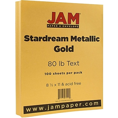 JAM Paper® Metallic Paper, 8.5 x 11, 80lb Stardream Gold, 100/pack (173SD8511GO120)