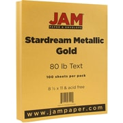 JAM Paper® Metallic Paper, 8.5 x 11, 80lb Stardream Gold, 100/pack (173SD8511GO120)