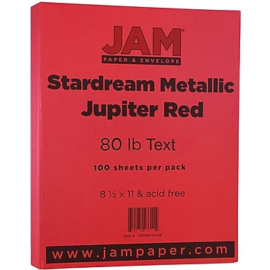 JAM Paper® Metallic Paper, 8.5 x 11, 80lb Stardream Jupiter Red, 100/pack (173SD8511JU120)