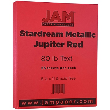 JAM Paper® Metallic Paper, 8.5 x 11, 80lb Stardream Jupiter Red, 25/pack (173SD8511JU120B)