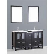 Bosconi Contemporary 60'' Double Bathroom Vanity Set with Mirror; Espresso