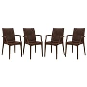 LeisureMod Mace Arm Chair (Set of 4); Brown