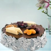 Arthur Court Magnolia Wood Cheese Pedestal Cake Stand