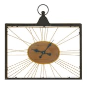 Cole & Grey Metal Wood Glass Wall Clock