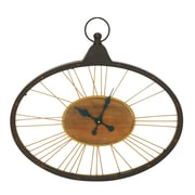 Cole & Grey Metal Wood and Glass Wall Clock
