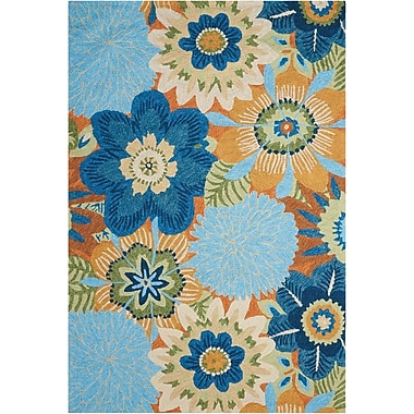 Nourison South Beach Aqua Indoor/Outdoor Area Rug; 5' x 7'6''