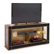 Philip Reinisch Co. Altair Bunching TV Stand; Midnight Black Glass/Antique Gold