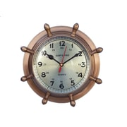 Handcrafted Nautical Decor Porthole 8'' Double Dial Wheel Wall Clock; Antique Brass