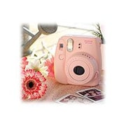 Fujifilm instax mini 8 Instant Camera with One Pack of Rainbow Film, Pink