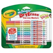 Crayola® Fine Line Washable Dry Erase Markers, Assorted, 12/Pack (98-5912)