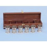 Handcrafted Nautical Decor Anchor Shot Glasses With Rosewood Box (Set of 6); Brass