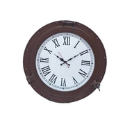 Handcrafted Nautical Decor Deluxe Class Porthole 17'' Clock; Bronzed