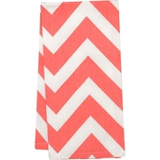 Linen Tablecloth Chevron Kitchen Towel (Set of 2); Coral/White