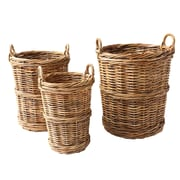 Creative Co-Op Sonoma 3 Piece Round Arurog Baskets with Handle Set (Set of 3)