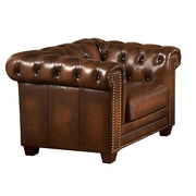 Amax Hickory Leather Chesterfield Chair