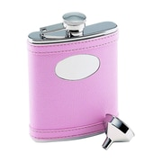 Creative Gifts International 6 Oz. Stainless Steel Flask w/ Engraved Plate; Pink