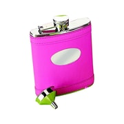 Creative Gifts International 6 Oz. Stainless Steel Flask w/ Engraved Plate; Hot Pink