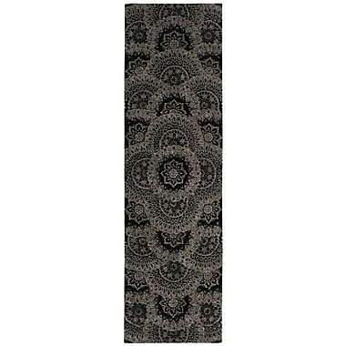 Nourison 2000 Black/Grey Area Rug; Runner 2'6'' x 12'