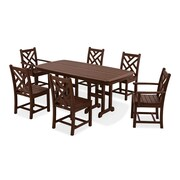 POLYWOOD  Chippendale 7 Piece Dining Set; Mahogany