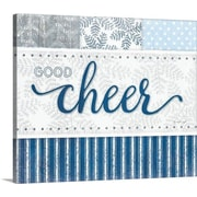 Christmas Art 'Good Cheer Silver Blue' by Jennifer Pugh Textual Art on Wrapped Canvas