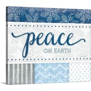 Canvas On Demand Christmas Art 'Peace Silver Blue' by Jennifer Pugh Textual Art on Wrapped Canvas